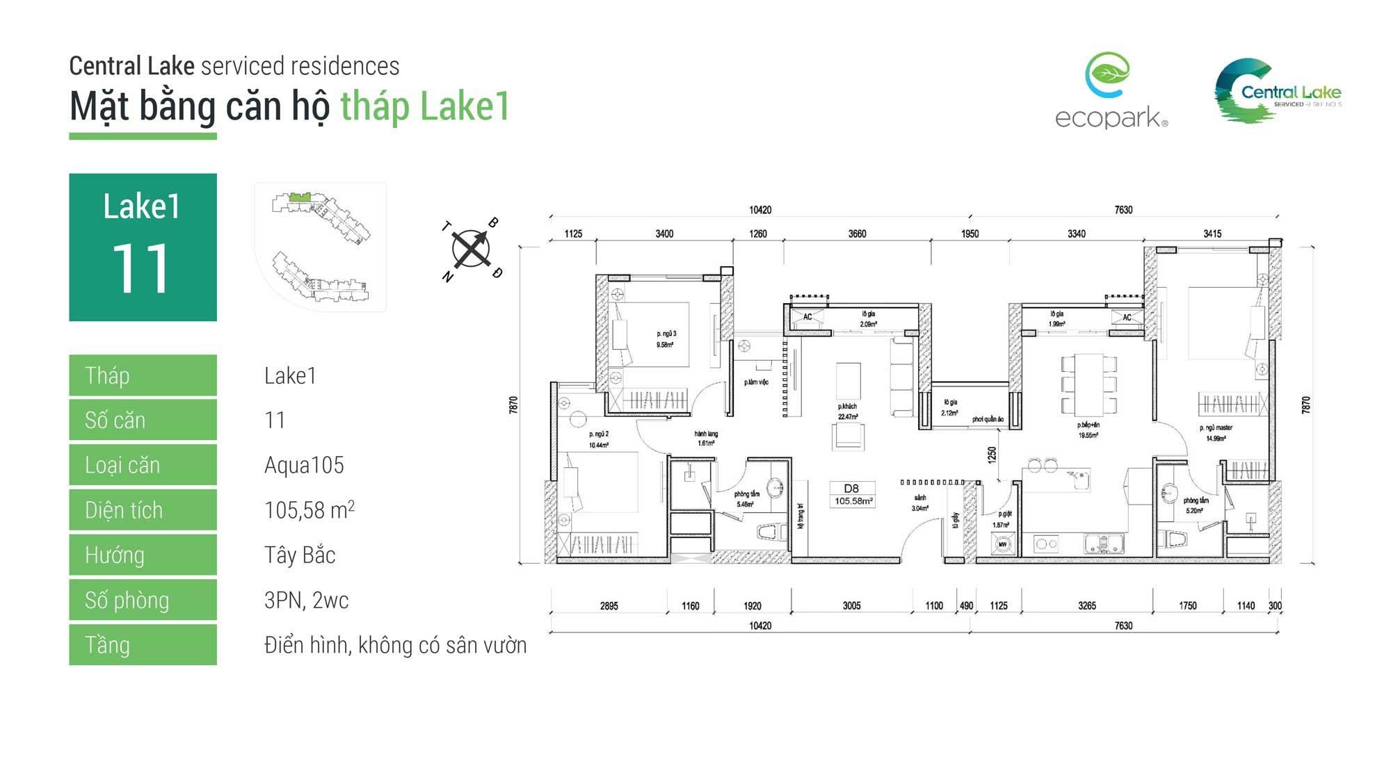 Thiết kế căn hộ Aqua Bay 105 Ecopark
