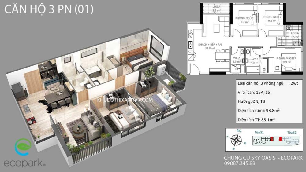 Căn Hộ 3 Phòng Ngủ(01) Chung Cư Sky Oasis