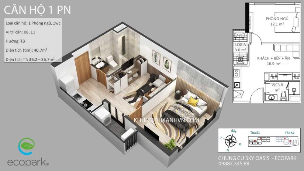 Căn Hộ 1 Phòng Ngủ Chung Cư Sky Oasis