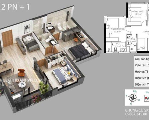 Căn Hộ 2 Phòng Ngủ + 1 Chung Cư Sky Oasis