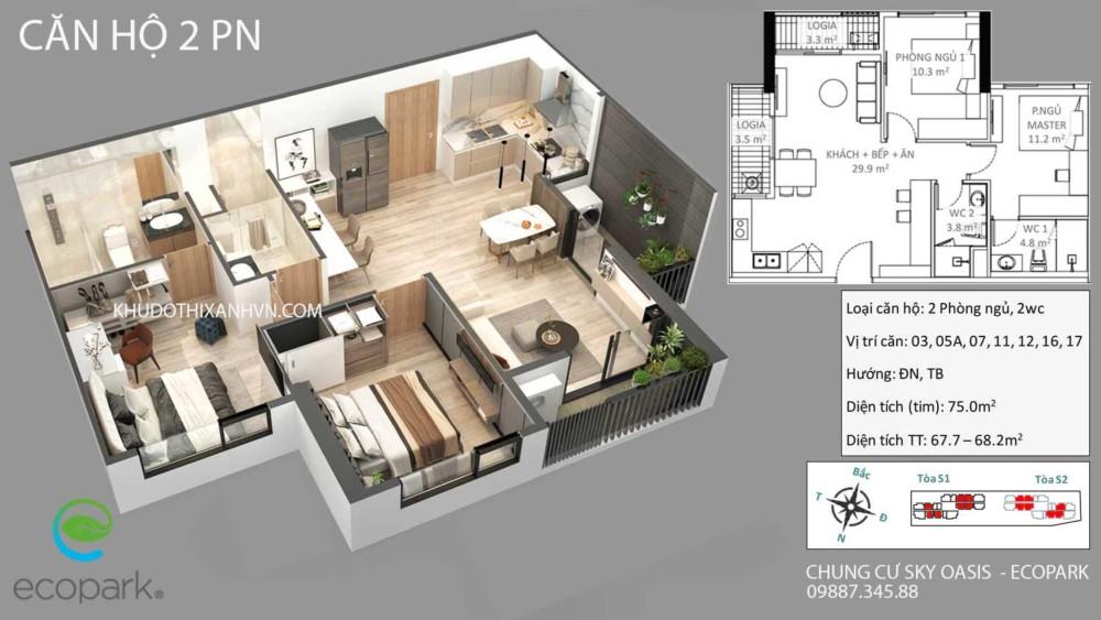 Căn Hộ 2 Phòng Ngủ Chung Cư Sky Oasis