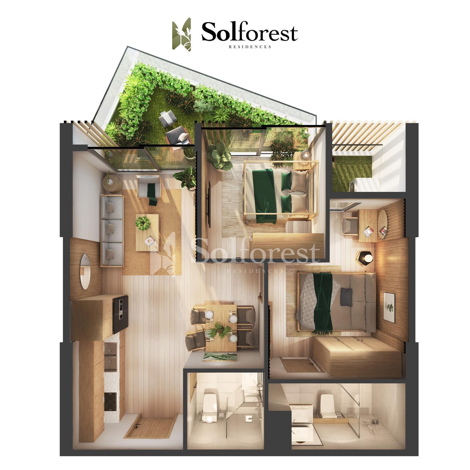 Căn Hộ Sân Vườn 2 Phòng Ngủ Solforest Ecopark 03