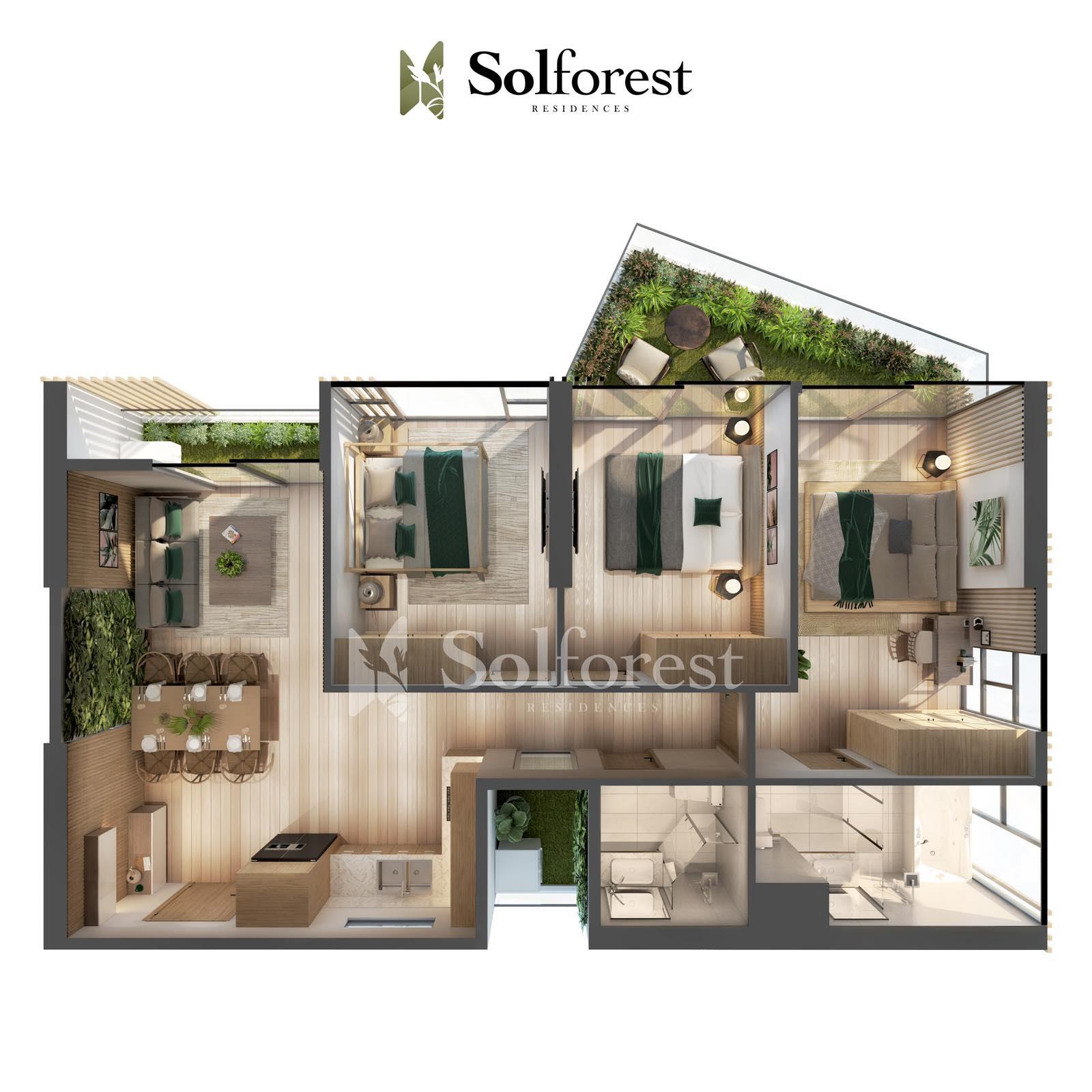 Căn Hộ Sân Vườn 3 Phòng Ngủ Solforest Ecopark Điển Hình 01