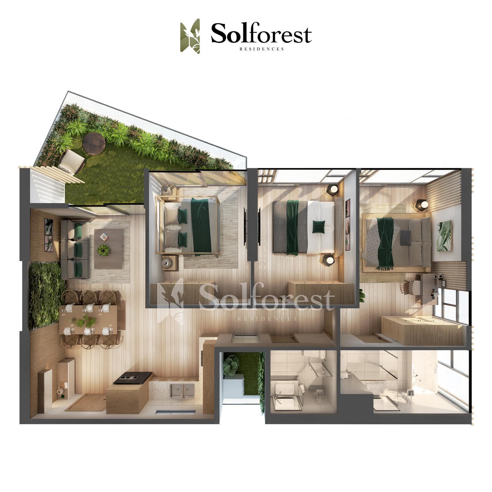 Căn Hộ Sân Vườn 3 Phòng Ngủ Solforest Ecopark Điển Hình 02