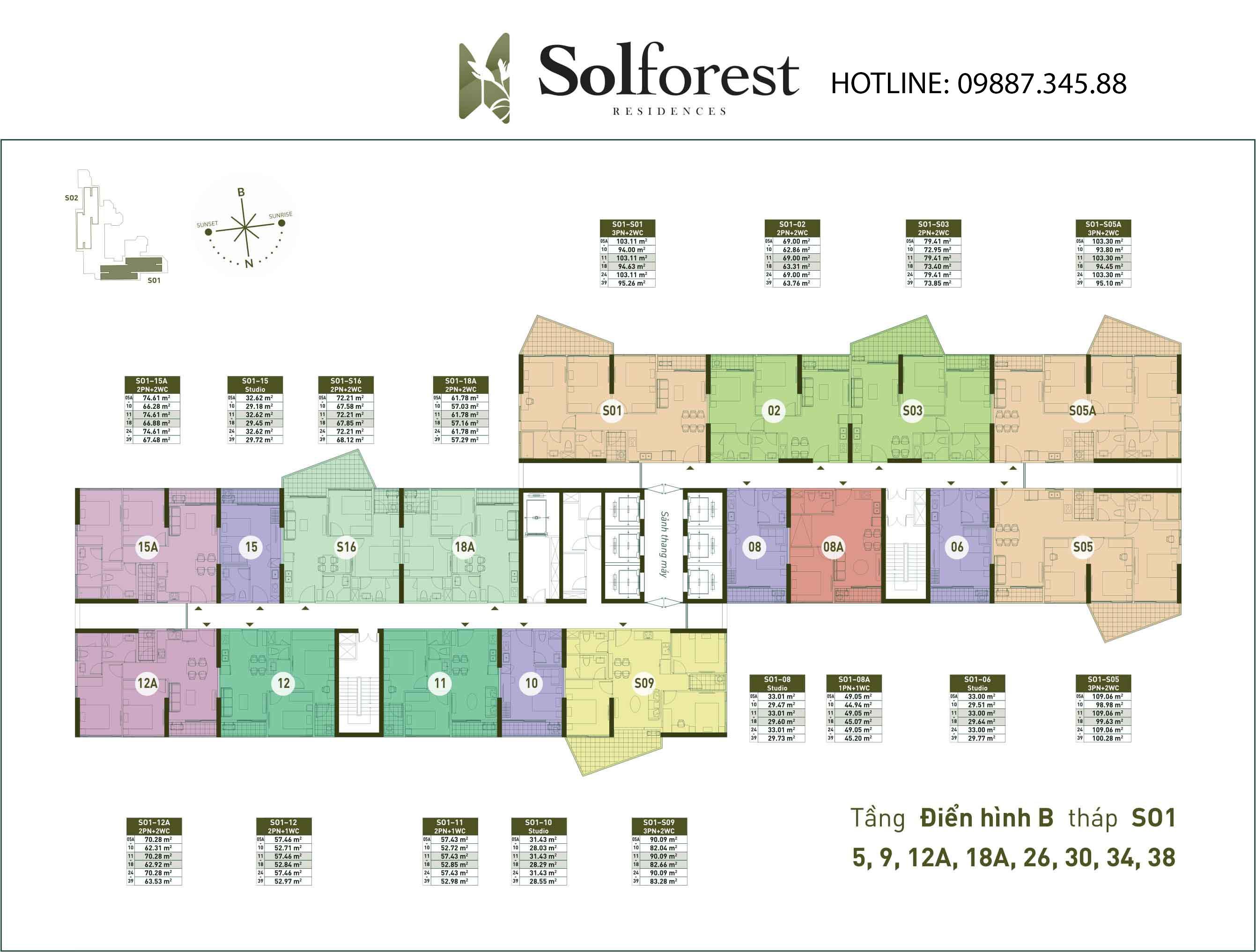 Mặt Bằng Điển Hình B Tháp So1 Solforest Ecopark