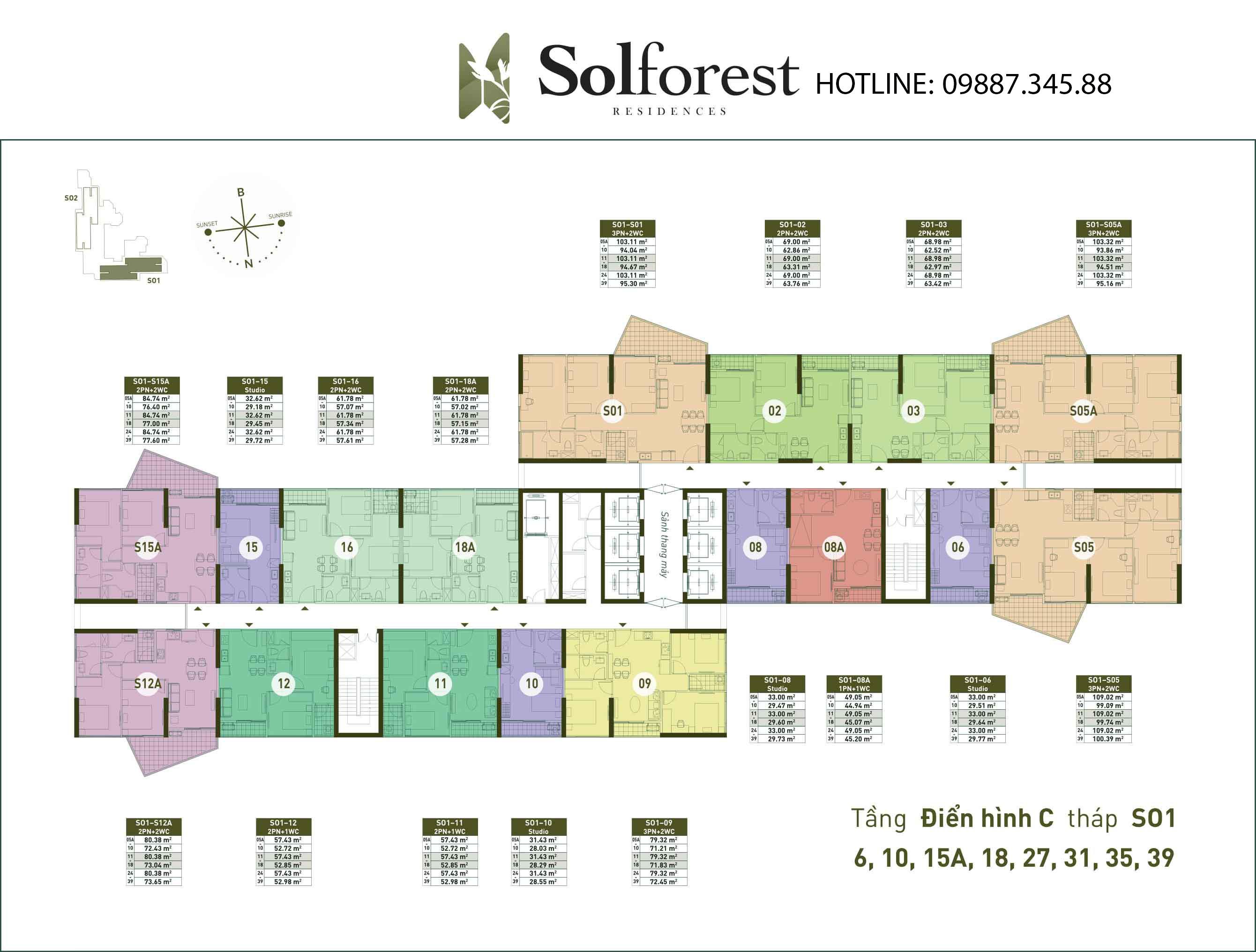 Mặt Bằng Điển Hình C Tháp So1 Solforest Ecopark