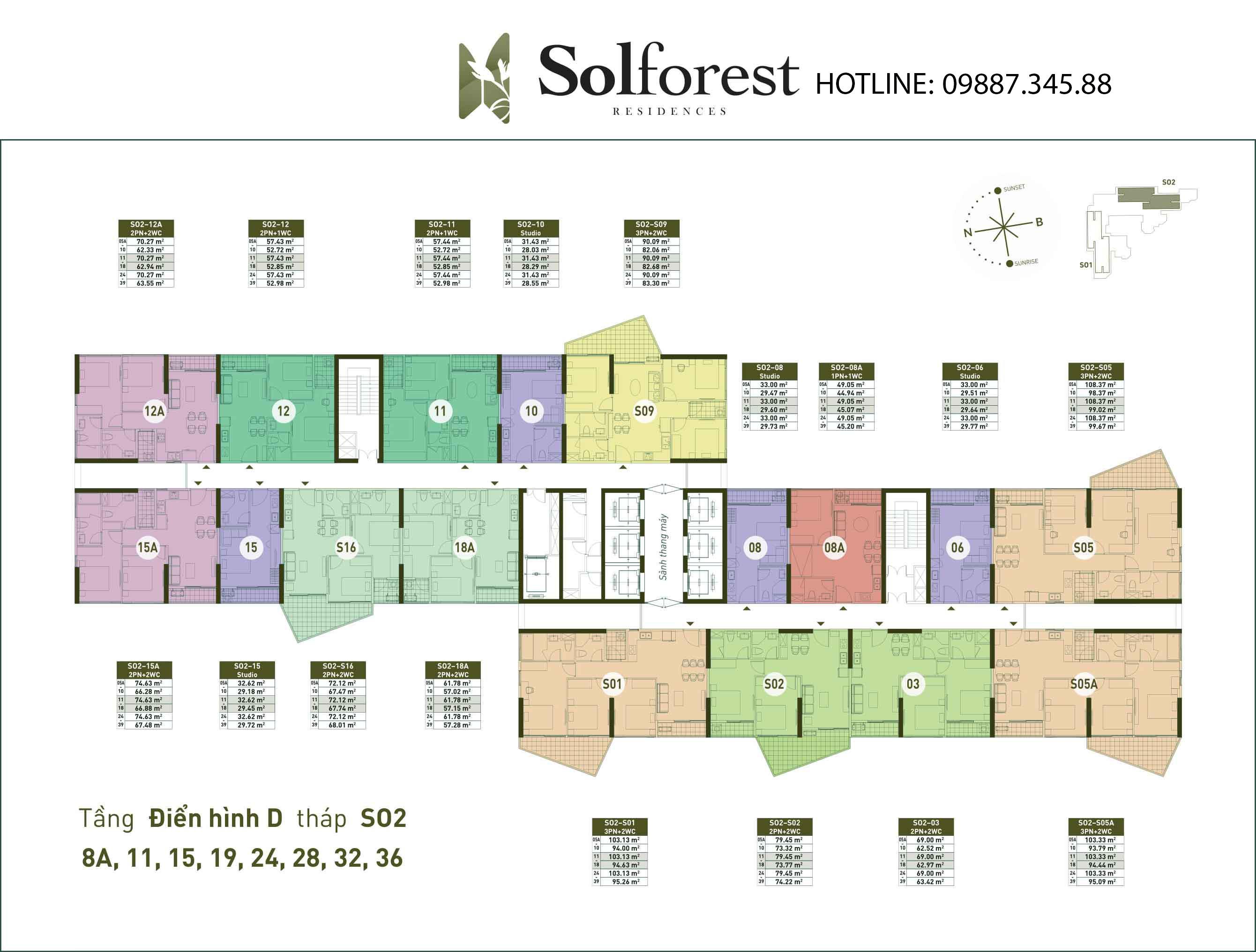 Mặt Bằng Điển Hình D Tháp So2 Solforest Ecopark