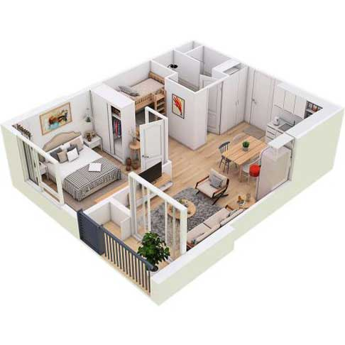 Căn-Hộ-1-phòng-ngủ-+-1-(45m2)-West-Bay