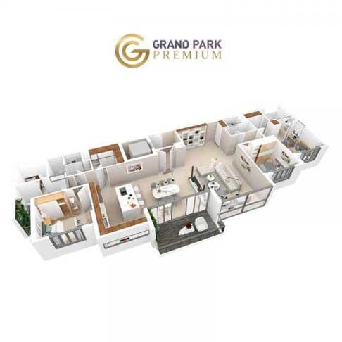 Căn hộ 3 phòng ngủ Aqua 150 Park Premium