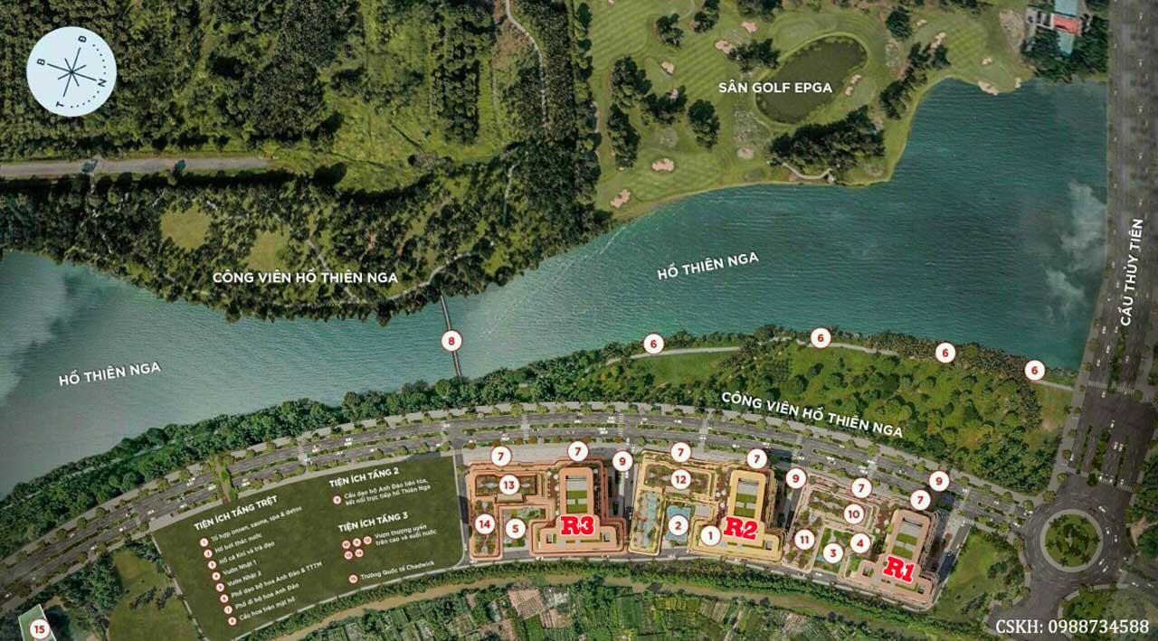 Mặt bằng tổng thể chung cư Swan Lake Onsen Ecopark