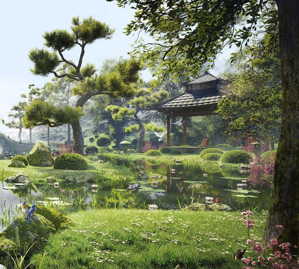 Vườn Nhật chung cư Swan Lake Residences The Onsen Ecopark