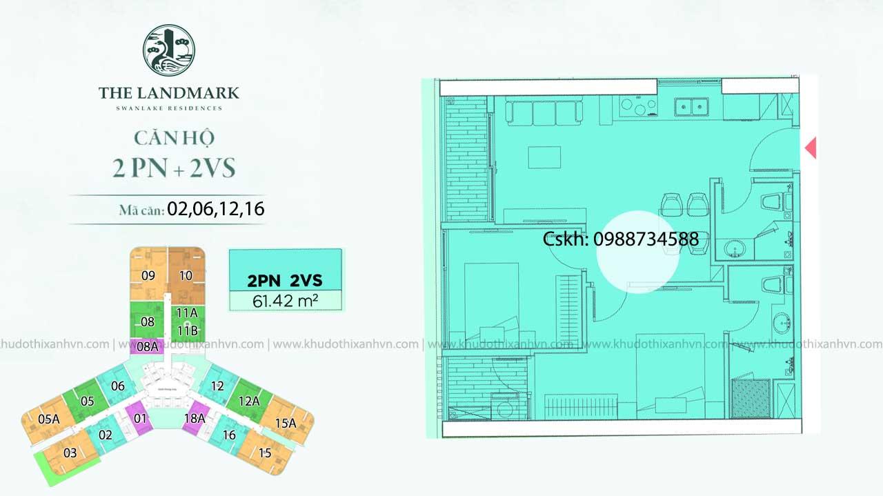Căn hộ 2 phòng ngủ loại 2 chung cư Landmark Onsen Ecopark