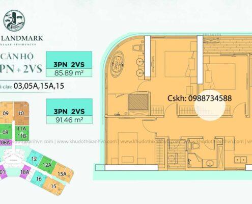 Căn hộ 3 phòng ngủ loại 3 chung cư Landmark Onsen Ecopark