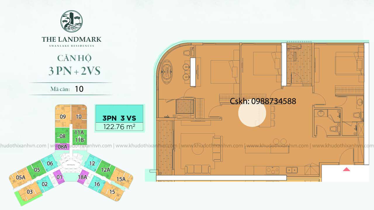Căn hộ 3 phòng ngủ loại 1 chung cư Landmark Onsen Ecopark